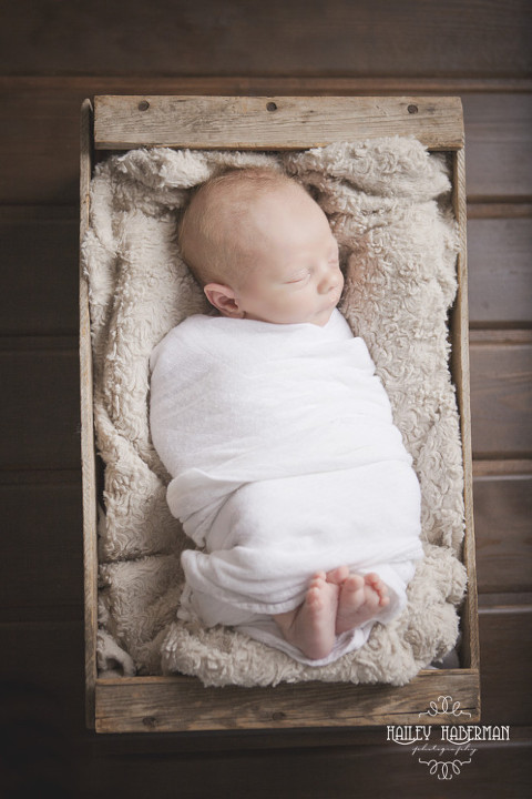 baby in a barnwood box, rustic and natural posed newborn photography in Ellensburg WA by Hailey Haberman