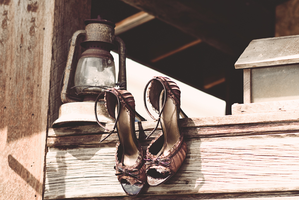 brides shoes at rustic cle elum wedding - Hailey Haberman Photography