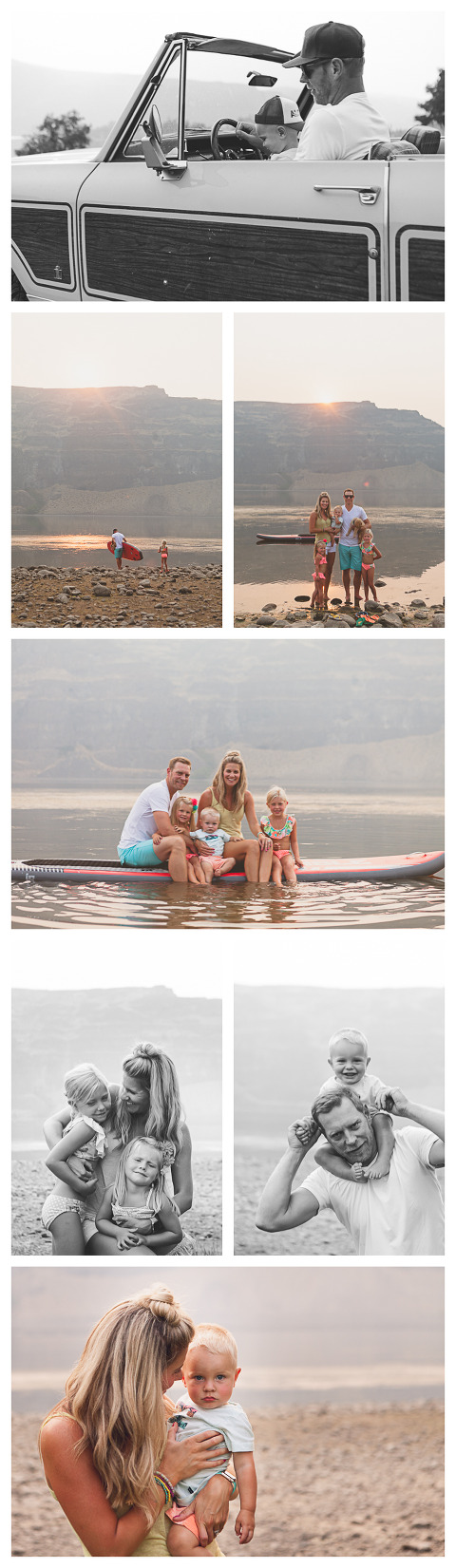 beach session with a scout, on a paddle board, Olson Family in Sunland, WA, lifestyle family session by Hailey Haberman
