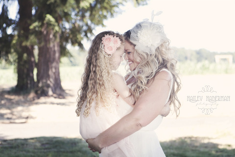 Nisqually Springs Farm Country Wedding candid photo of bride and daughter