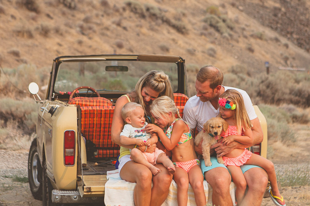 beachy family session with vintage scout- lifestyle photography by Hailey Haberman in Ellensburg WA